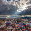 Broken clouds over Brno<br /> <br /> I took this photo few months ago, while visiting Brno. I go there from time to time, as it's not far from Bratislava, and they cook great Czech food in the pubs there :). This photo was taken from the top of the St. Peter and Paul's Cathedral. I had quite a luck here, as I was alone there at that time :). It's a really small space, I had problems standing next to my tripod :)<br /> <br /> HDR from three shots, taken with Canon 450D with Sigma 10-20mm lens, from a tripod.
