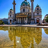 Karlskirche<br /> <br /> This week I didn't had much luck with nice sky's. First I had only grey sky and then only clear blue sky's. But still I try'd to do my best :). This is the Karlskirche (ST. Charles Church) in Vienna. The fountain in front of it was turned off, so it gave me a really nice reflection. HDR from three shots, taken with Canon 450D with Sigma 10-20mm lens, handheld.