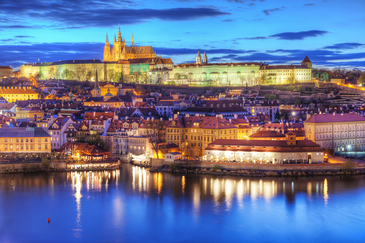 Colorful Prague A nice colorful view of the Prague castle today.