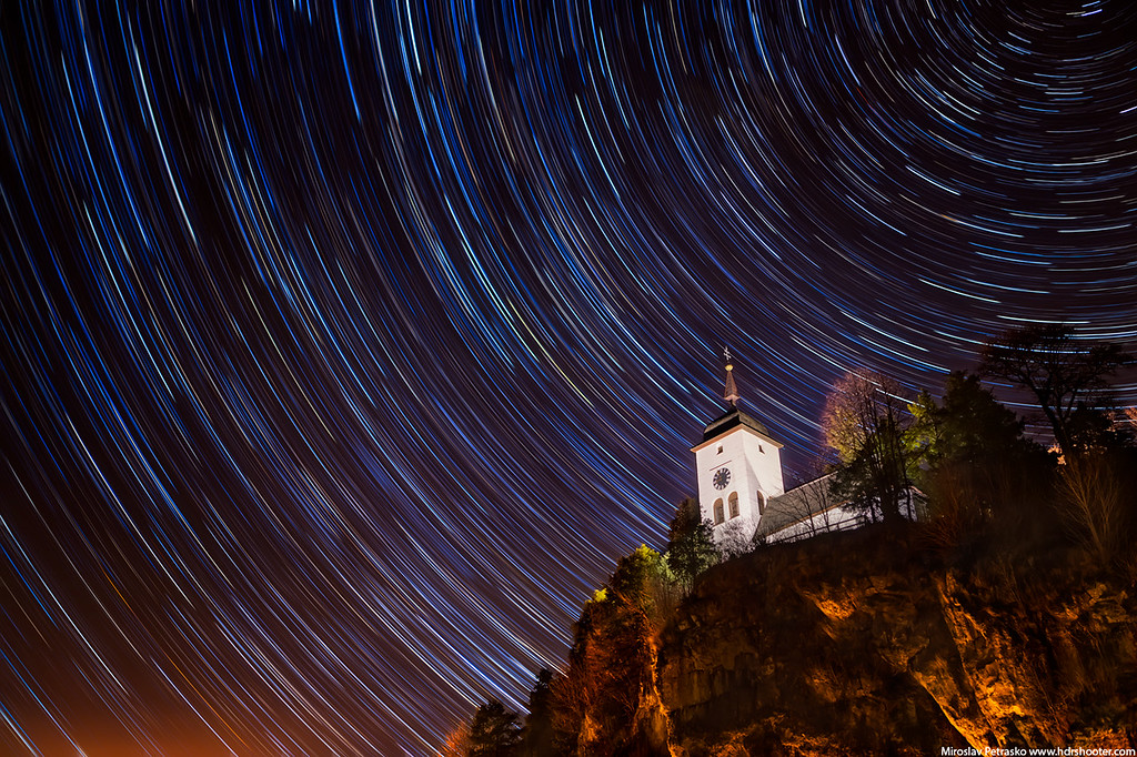 Star trails in the night sky, Traunsee, Traunkirchen, Austria