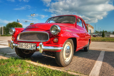 Skoda Octavia  Another nice old car today :) This time it's the Skoda Octavia.  Photo taken in front of the Incheba exhibition center in Bratislava, during a veteran rally.  HDR from three shots, taken with Canon 450D with Sigma 10-20mm lens, from a tripod.