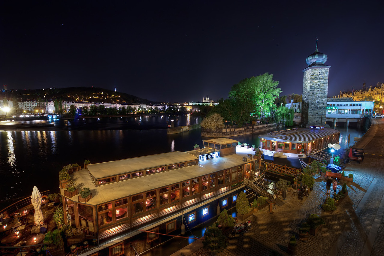 Ships on Vltava  Had no time to edit new photos the last few days, so I'm quite glad, I always have a few in reserve :) So here is another one taken at night in Prague :)  HDR from three shots, taken with Canon 450D with Sigma 10-20mm lens, from a  tripod.