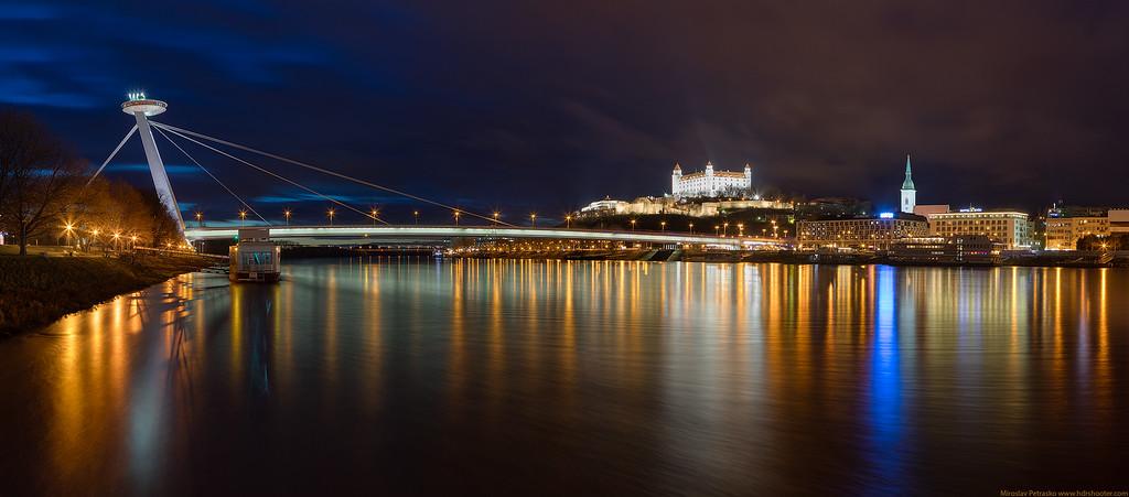 Evening view of Bratislava, Slovakia, Panorama