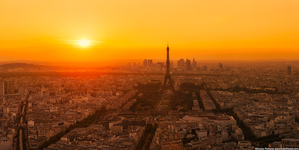 Low sun over Paris France sunset panorama