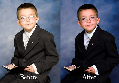 "This wasn't a difficult photograph but I did have to take two pictures; one with his glasses (his mother likes his glasses) and one without them.  I then cut out his eyes from the ""without"" and morphed them into the ""with"" photograph.  The rest was a 100 execution action in photoshop.  I'm sure there are easier ways but this took less than 10 minutes."