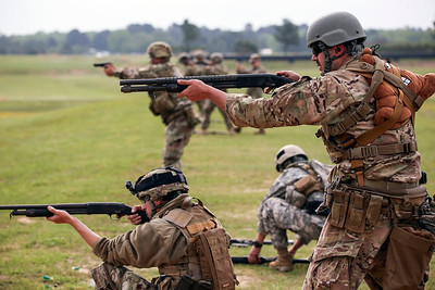 Competitors take aim during the Winston P. WIlson Championship Armed Forces Skill at Arms Meeting at Camp Robinson Thursday, May 3, 2016
