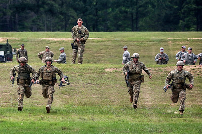 Competitors runs to their first position during the Winston P. WIlson Championship Armed Forces Skill at Arms Meeting at Camp Robinson Thursday, May 3, 2016