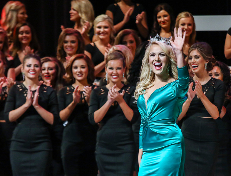 Current Miss America, and 2016 Miss Arkansas, Savvy Shields, waves to the crowd during the 2017 Miss Arkansas Pageant at Robinson Theather in Little Rock Thursday, June 15, 2017.