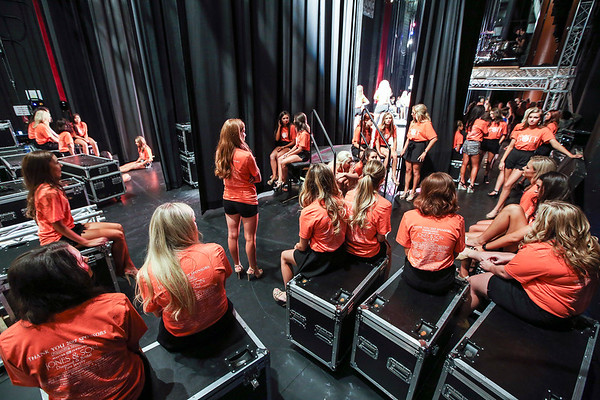 Contestants wait around during rehearsals for the upcoming MIss Arkansas Paegent at the Robinson Center Sunday, June 11, 2017.