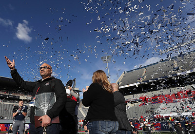 Ali Farhang, Chairman of the Board for the Arizona Bowl, thanks the crowd before handing off the MVP trophy at the end of the Arizona Bowl Saturday Dec 28, 2018 in Tucson, Arizona.