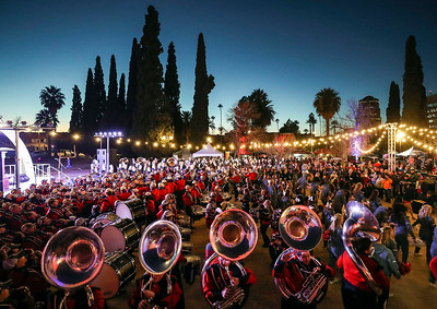 The Arkansas State marching band performs during the battle of the bands at the Arizona Bowl Block Party Friday, Dec 28, 2018 in downtown Tucson, Arizona.