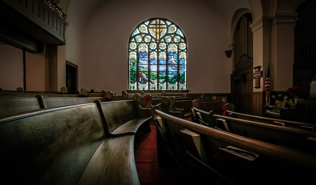 Pews sit empty Sunday afternoon, after the final service at St. Matthew Lutheran Church.