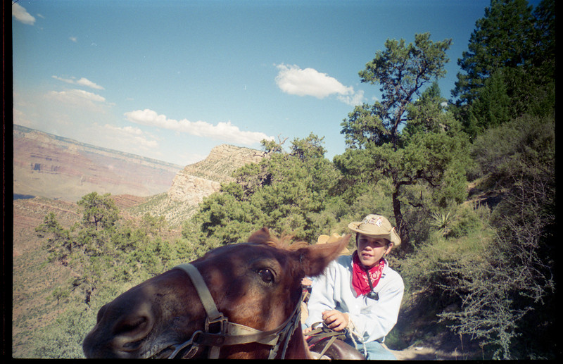 My brother riding a mule in the Grand Canyon in 1996. <br /> I decided to share this picture because my brother, Erik is in Nanjing, China teaching english and learning Chinese fluently and I wanted to make sure he had a picture to show everyone that he's a real cowboy!
