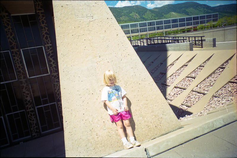 My sister leaning against the United States Air Force Academy Cadet Chapel in Colorado Springs, Colorado, 1996.