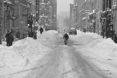While I was in Montreal in March working at Mikros Image on Captain Underpants we had a huge snowstorm. A few hours and this was what we had from empty streets. It was fun, but I'm not sure I would be riding my bike in it. At least he had Fat tires!