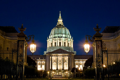 San francisco City Hall at Night as seen from the Opera House Courtyard