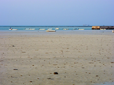 Fishing boats at low-tide, Persian Gulf in Qatar.