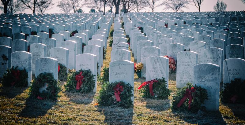 Gravestones with wreaths