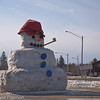 The city snowman in Minocqua.