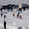Youth hockey on the lake