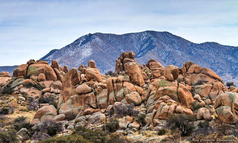 Boulders of Arizona's Texas Canyon<br /> Despite this being southern Arizona, it was quite cold and the mountain in the background had a light dusting of snow from the previous night.