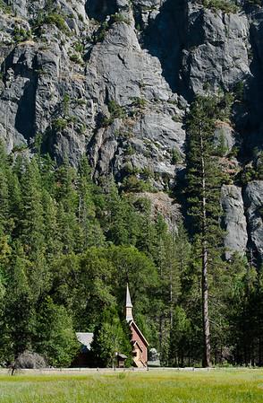 Yosemite Chapel Below Sentinel Rock