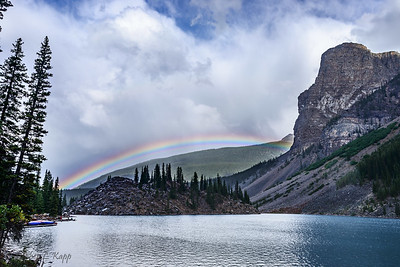 Rainbow Behind Moraine Lake