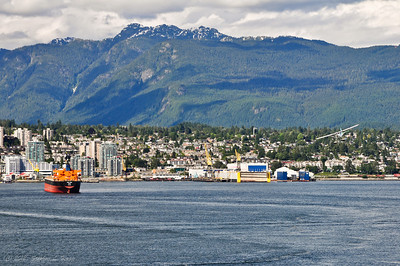Vancouver Harbour with Seaplane in Foreground & Mt. Seymour in the Background