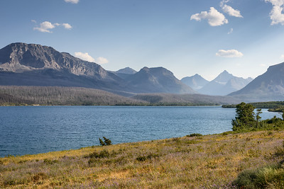 St. Mary's Lake with Norris Mountain and Split Mountain (l to r) in far right distant rear