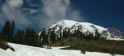 On the trail up to Panorama Point on Washington's Mount Rainier.  Although this photo was taken in the summer, there was still quite a bit of snow left on the ground.