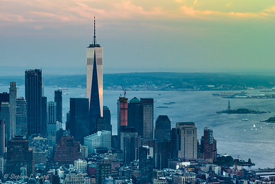 One World Trade Center and Upper Bay at Sunset