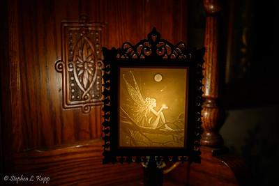 Antique Backlit Etched Glass Picture
