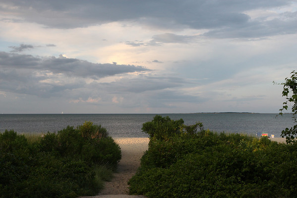 Fuller St. Beach,  entrance from Fuller St. This beach faces Chappaquiddick and Edgartown's outer harbor, a bustle of boating activity during July and August.