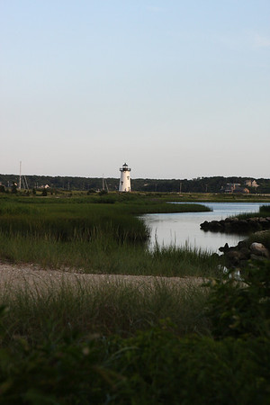 View from Fuller Street Beach to Edgartown Lighthouse. The small stream on the right was once connected to Eel Pond, and full of blue claw crabs. We spent many hours here as kids catching blue claws. Walking back up Fuller Street, it is a short walk over to the lighthouse and back to town via North Water Street.
