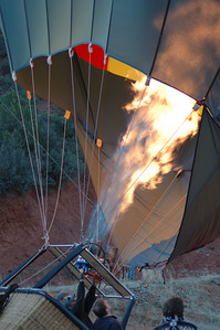 An early morning hot air balloon trip is a great way to see the Sedona Red Rocks.  This is our guide from Red Rock Balloon Adventures inflating his balloon and getting ready for launch.