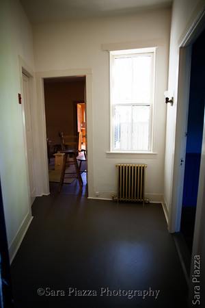 The hallway, facing the dining room.