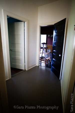 The hallway between the dining room and the living room. This room was a killer: claustrophobic, four doors, a window (that I had to remove from the frame and repair), and was very dark so required three coats of paint. No matter; it's done, now, and so will the rest be.