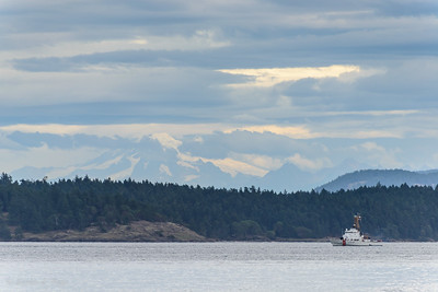 Coast Guard Cutter with Mt. Baker in the Background