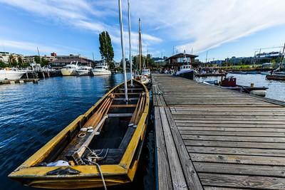 Wooden Boat docked.