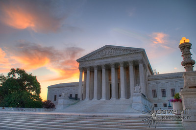 The Supreme Court building at dawn.