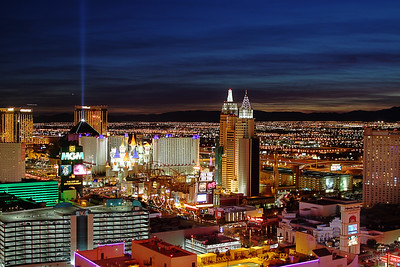 Las Vegas Strip as seen from a rooftop vantage point.
