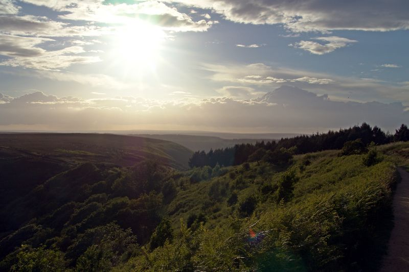 Late afternoon over the North York Moors. Stacked from multiple exposures. Taken near the Devil's Punchbowl, on the 27th of June 2004