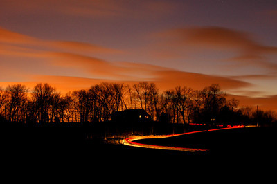 Evening drive, long exposure taken at dusk in Crestwood, Kentucky