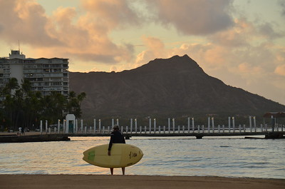 Surfing by Diamond Head