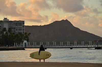 Surfing by Diamond Head