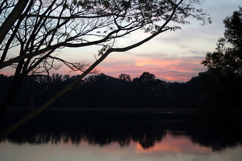 Sunset over a lake, Bangalore, India