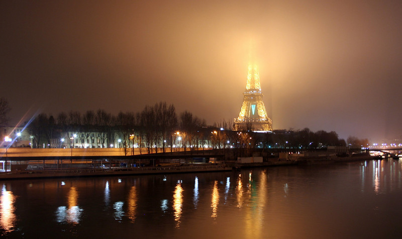 The Eiffel Tower in fog<br /> Paris, France