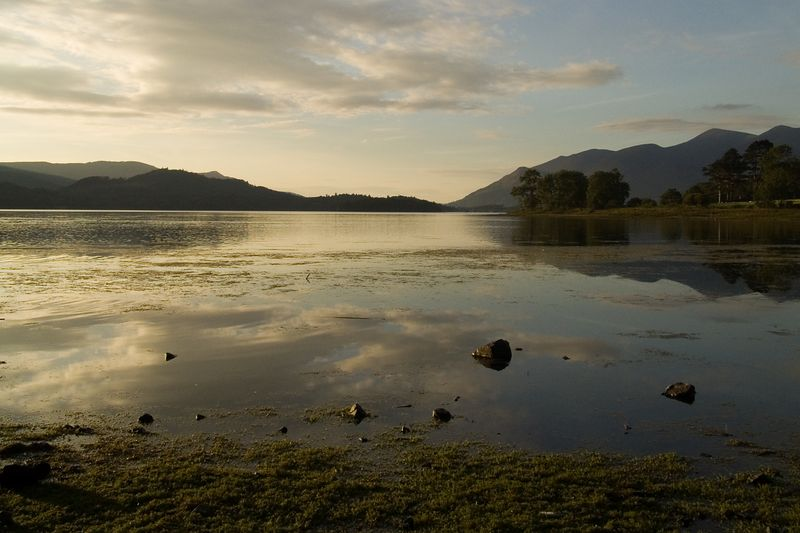 Sunset over Derwent Water, taken on the 16th of August 2005, in the Lake District UK.