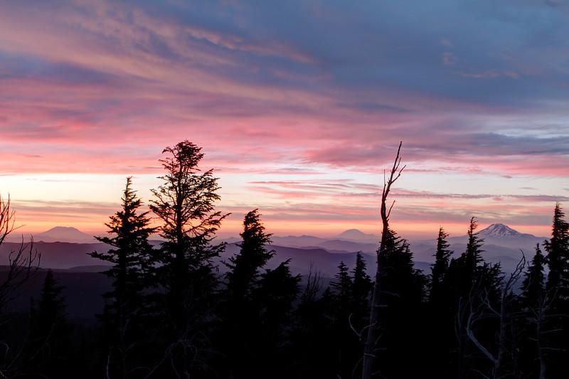 Mt Saint Helens, Mt Rainier, Mt Adams from Mt Hood.