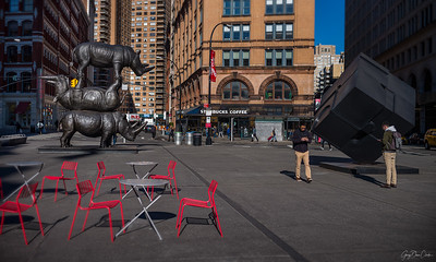Sculptures at Astor Place